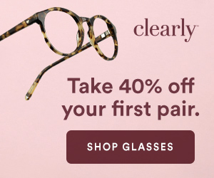 New Clearly customer offer! Get 40% off your first pair of glasses plus free shipping!