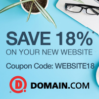 Save 18% off your New Website at Domain.com! Use Code: WEBSITE18, Start Now!