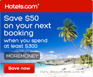 Book your summer trip today and save $50 on a $300+ hotel booking with code MOREMONEY! Book by 6/1/14, Travel by 11/19/14