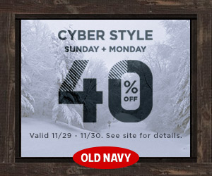 Cyber Monday 2015 40% Off at Old Navy