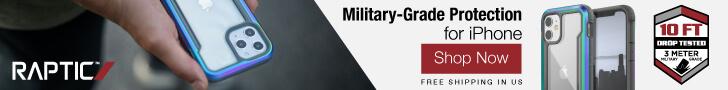 Raptic iPhone 12 Shield Ad Banner - 728x90