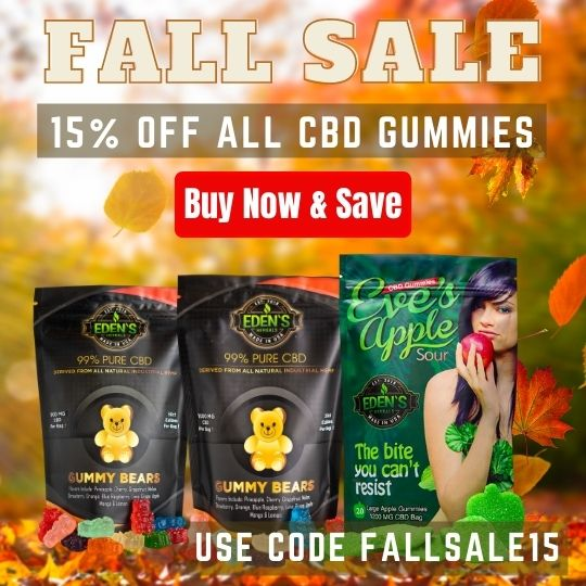 Fall themed banner announcing 15% off all CBD Gummy Products from Eden's Herbals