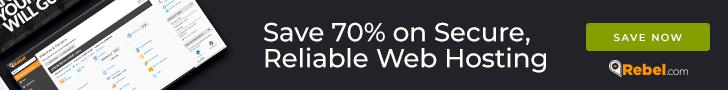 Save 70% on secure, reliable web hosting at Rebel.com