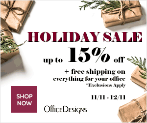 Image for Save up to 15% + Free Shipping during the Holiday Sale at Office Designs. (Valid 11/11/19 - 12/11/19)