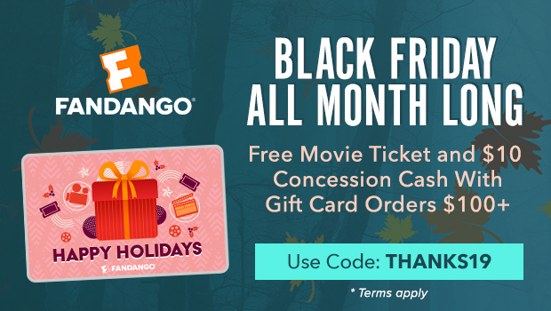 620x350 Black Friday All Month Long! Free Movie Ticket and $10 Concession Cash with Gift Card Orders
