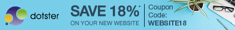 Save 18% off your New Website at Dotster.com! Use Code: WEBSITE18, Start Now!