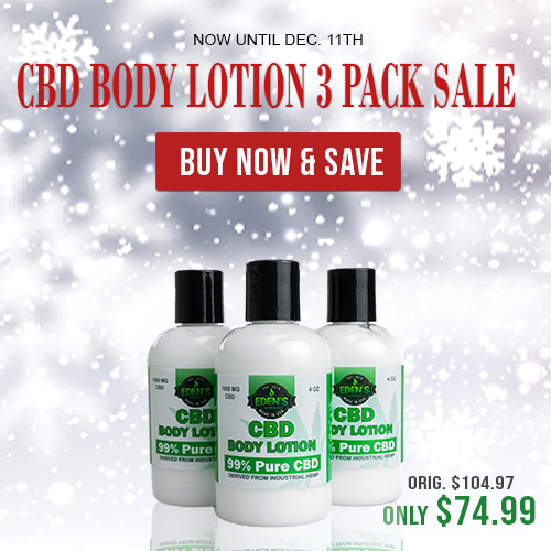 Banner announcing Eden's Herbals 3 Pack Sale on CBD Body Lotion