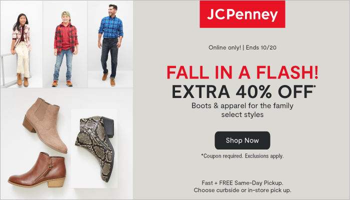 JCPenney Fall Boot & Apparel Flash Sale + Extra 40% off w/ Code!
