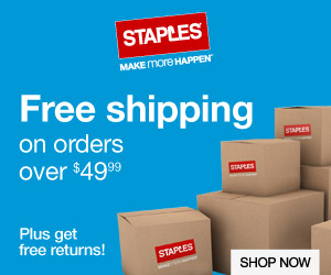 Free shipping on orders over $49.99 at Staples.com!