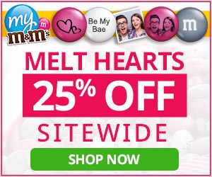 Valentine's Day Sale! Get 25% Off all personalized My M&M'S with code HEART25. Valid 1/29 thru 2/4