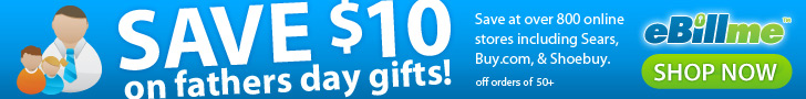 $10 off $50 with eBillme coupon 'AFF10FD'