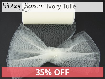 Tulle Ribbon 54 inch 40 yards Ivory 35% Off.