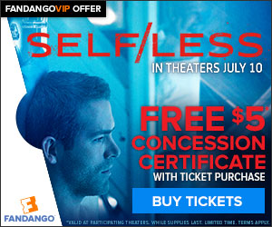 Free $5 Concession Certificate with Self/Less Ticket Offer
