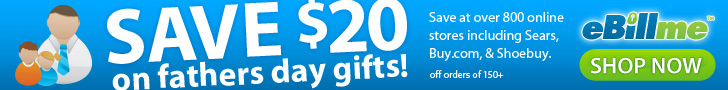 $20 off $150 with eBillme coupon 'AFF20FD'