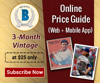 Get 3 Months Vintage Card Online Price guide Subscription for $25