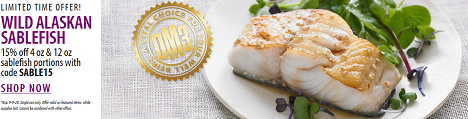 SAVE 15% Off Of 4 oz. & 12 oz. Wild Alaskan SableFish Portions + Get Free Shipping At Vital Choice W