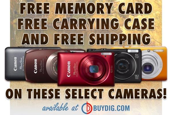 Huge Discounts on digital Camera's plus a Buydig bonus: Free memory card, free camera case and free shipping at Buydig.com