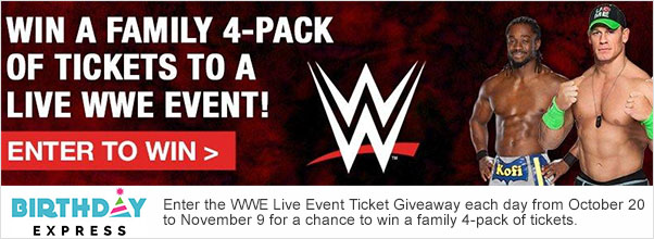 Birthday Express WWE Live Event Giveaway