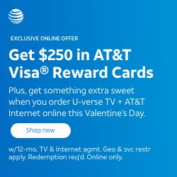 U-Verse TV + Internet + $250 Visa Reward Cards for $75/mo.