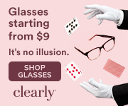 Glasses from $9 at Clearly! Shop now, no code necessary.