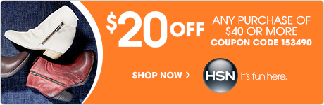 $20 off your first purchase of $40 or more with the code 153490 at HSN.com!