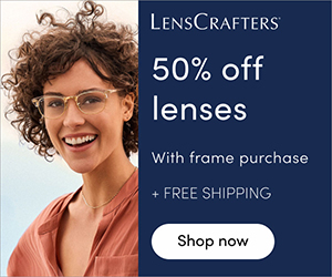 50% off lenses with frame purchase + free shipping