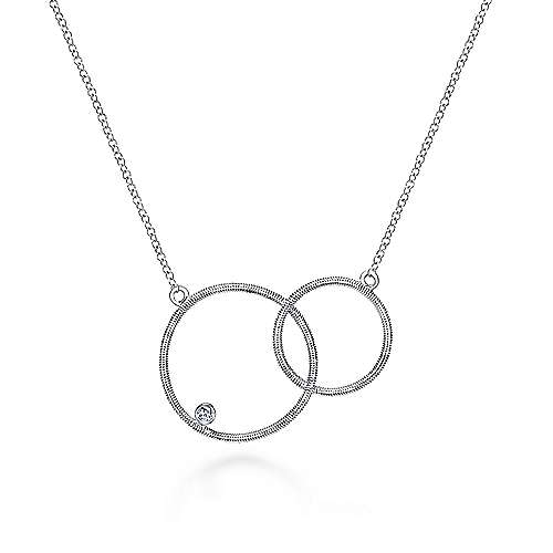 18 925 Sterling Silver Double Loop Diamond Pendant Necklace,  500 x 500