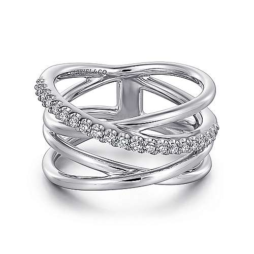 Top Jewelry Product: 925 Sterling Silver Intersecting Ring with White Sapphire Center, 500 x 500