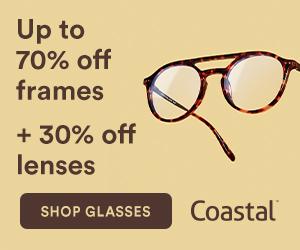 Customer Appreciation Sale – up to 70% off frames + extra 30% off lenses at Coastal!