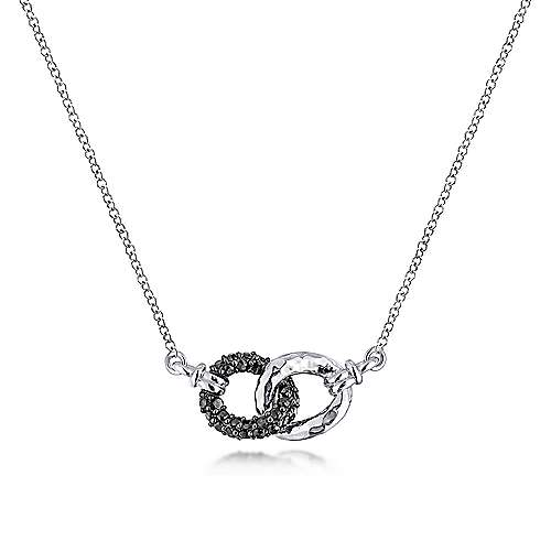 Top Jewelry Product: 925 Sterling Silver and Black Spinel Interlocking Links Necklace, 500 x 500