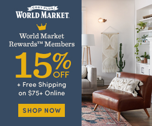 World Market Rewards Members 15% off + Free Shipping on $75+ Online
