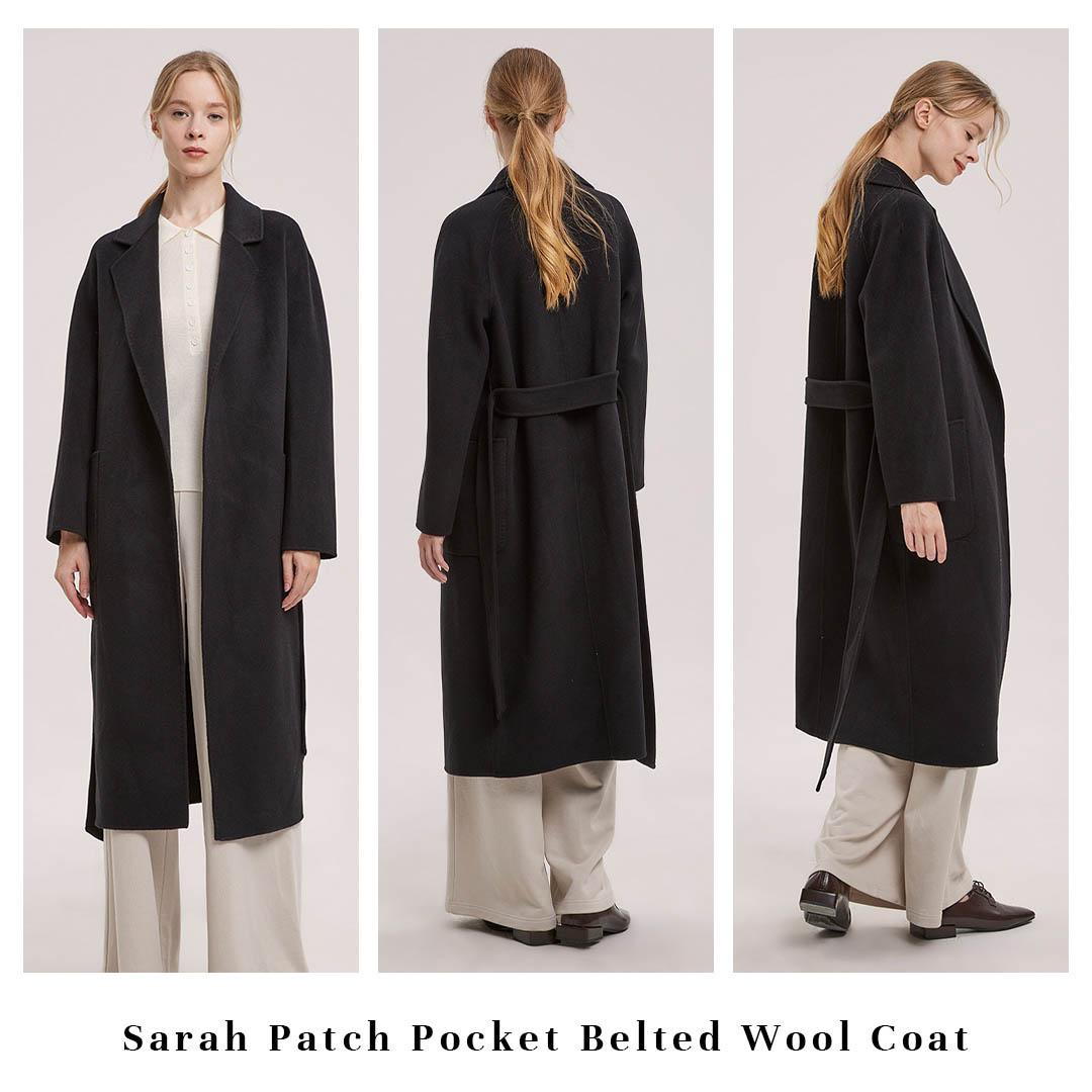 Sarah Patch Pocket Belted Wool Coat