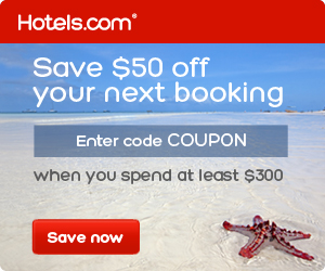 Save $50 off $300+ with the code COUPON. Book by 3/7/14, Travel by 8/27/14.