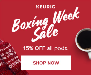 Boxing Week Sale! Get 15% OFF pods & accessories at Keurig.ca! (Valid 12/26 at 9am EST to 1/9 at 8a