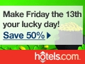Friday the 13th sale at hotels.com!