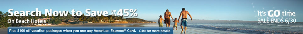 Save up to 45% on Beach Hotels. Ends 6/30.