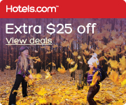 $25 off your next booking of $200 or more at Hotels.com with the code 25OFFNOVEMBER! book by 11/25/13, Travel by 12/31/13