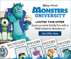 Monsters University Free Ticket