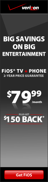 FiOS 2X TV + PHone $150 back