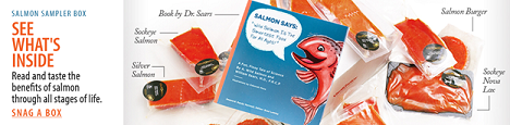SAVE 5% On The Exclusive Dr. Sears Salmon Sampler Vital Box With Free Salmon Says Book!