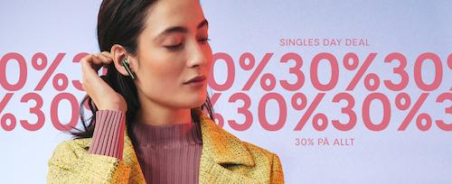 Upp till 30% rabatt Singles Day rea