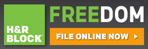 Online - H&R Block AT Home Free Edition 300x100