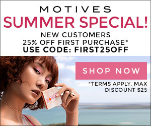 Image for (MC) Summer Special! New Customers get 25% OFF first purchase on cosmetics, makeup and skincare at MotivesCosmetics.com! Use coupon FIRST25OFF. $25 max savings. Free Ship on $99! Shop Now! (Ends 8/31)