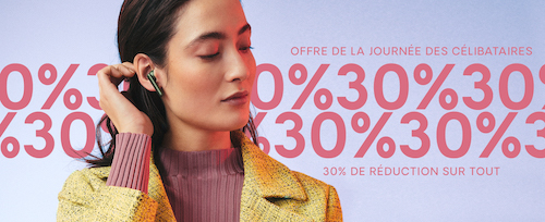 Up to 30% off Singles' Day sale