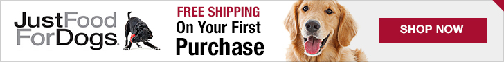 First time buyers of Just Food For Dogs will receive free shipping on their first purchase.
