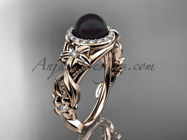 Black Pear Engagement Rings