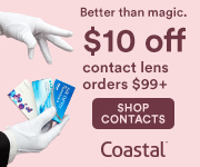 $10 off Contact Lens orders of $99+ with code: CLEAR10