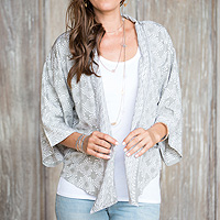 Grey and Ivory Batik Rayon Jacket