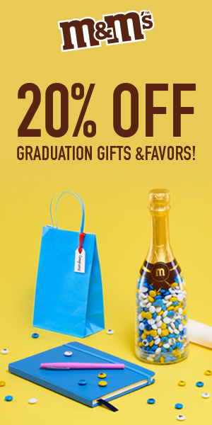20% Off Graduation Gifts & Favors! Use Code GRAD2020! Valid : 5/17-5/20!