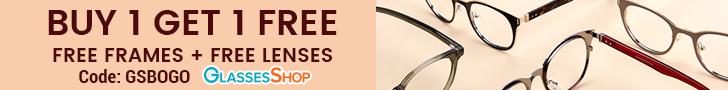 Buy 1 Get 1 Free (Free Frames + Free Lenses) at GlassesShop.com with code GSBOGO.  Offer Expires 12/
